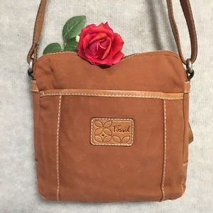 BAG FOSSIL CANVAS & LEATHER CB CAMEL COLOR